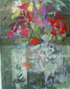 flowers on glass table 50x40